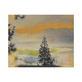 Orange Gray Landscape With Pines Gallery Wrap Canvas