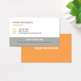 Orange & Gray Minimal Business Card