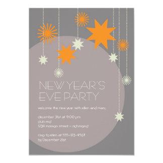 Orange gray modern star fireworks sparkle ball card
