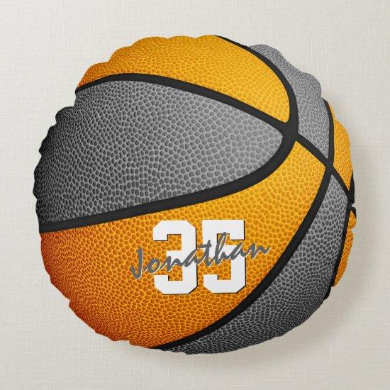 orange gray school colors boys girls basketball round pillow