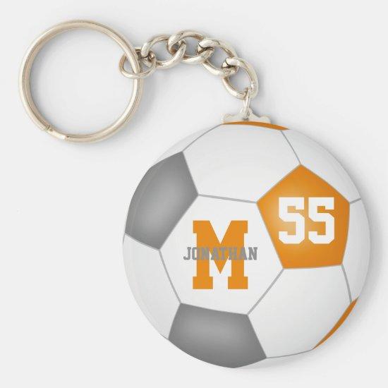orange gray school colors boys girls sports soccer keychain