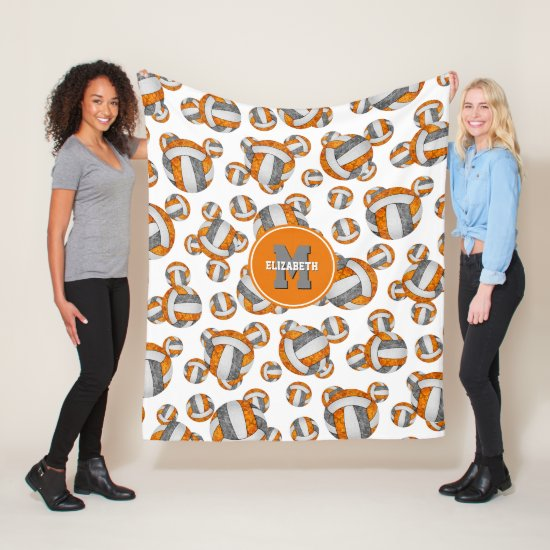 orange gray school team colors girly volleyball fleece blanket