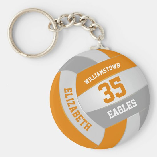 orange gray sports team colors volleyball keychain