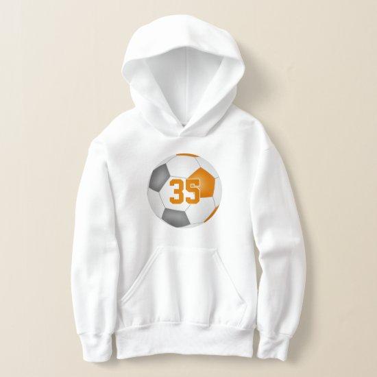 orange gray team colors jersey number soccer hoodie