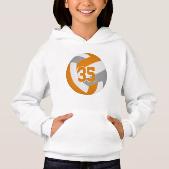 orange gray team colors jersey number volleyball hoodie