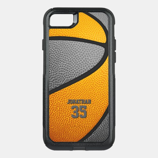 orange gray team colors personalized basketball OtterBox commuter iPhone SE/8/7 case