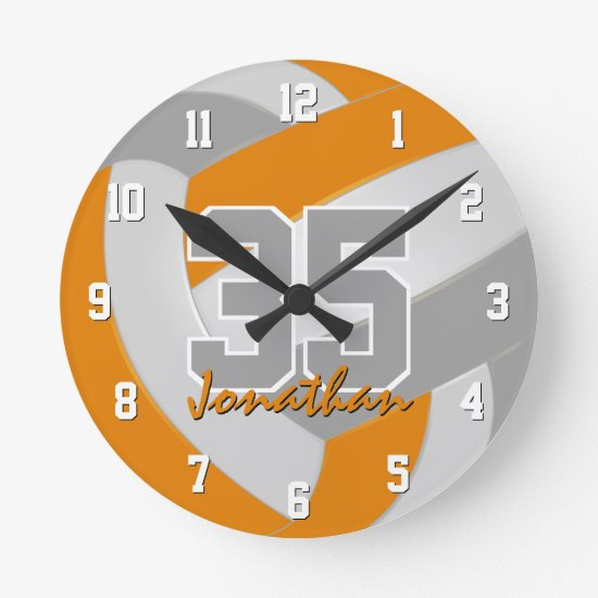 orange gray team colors players name volleyball round clock