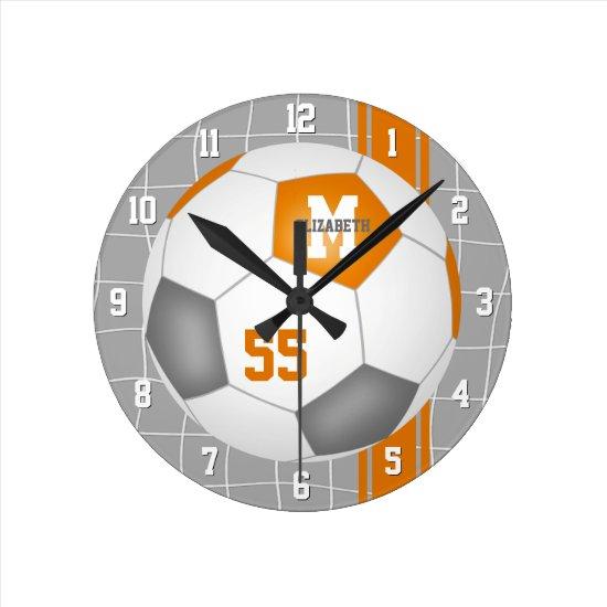 orange gray team colors varsity stripes soccer round clock