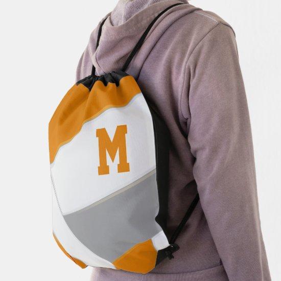 orange gray volleyball boys girls sports drawstring bag
