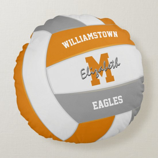 orange gray volleyball sports team colors round pillow