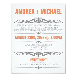 "Orange & Gray Wedding Reception ONLY Invitations 4.25"" X 5.5"" Invitation Card"