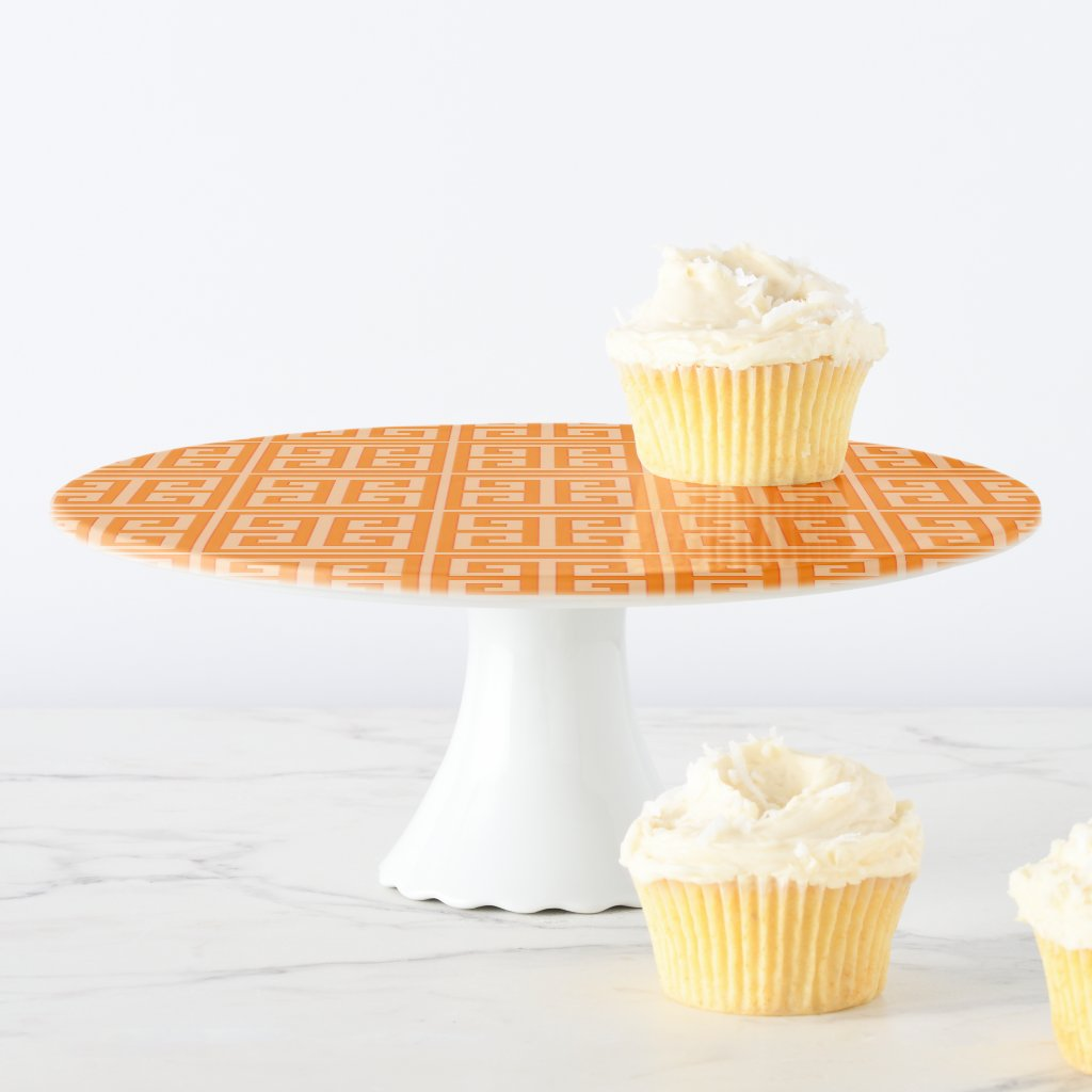Orange Greek Key Pattern Cake Stand