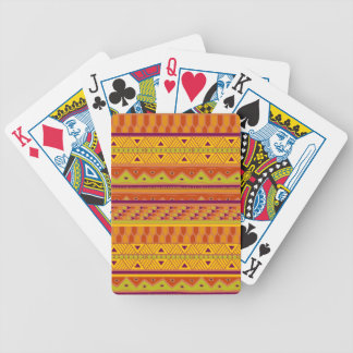 Orange Green Abstract Aztec Tribal Print Pattern Bicycle Playing Cards