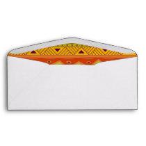 Orange Green Abstract Aztec Tribal Print Pattern Envelope