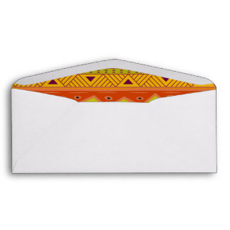 Orange Green Abstract Aztec Tribal Print Pattern Envelope