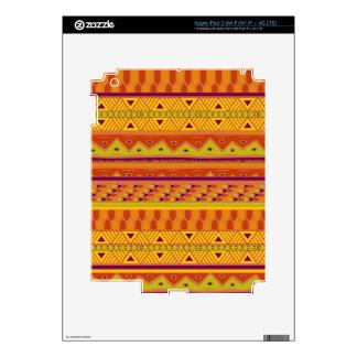 Orange Green Abstract Aztec Tribal Print Pattern iPad 3 Skin