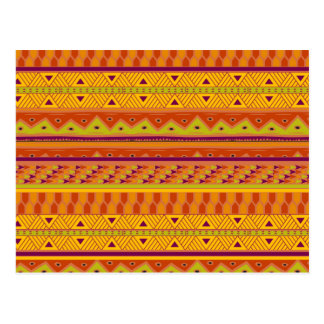 Orange Green Abstract Aztec Tribal Print Pattern Post Card