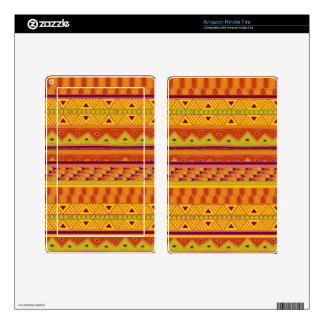Orange Green Abstract Aztec Tribal Print Pattern Skin For Kindle Fire