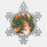 Orange Green Abstract Swirl Ornaments