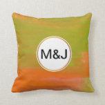 orange & green abstract watercolor & monogram throw pillows