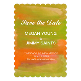 orange & green abstract watercolor save the date 5x7 paper invitation card