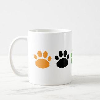Orange, Green, and Black Halloween Paw Prints Coffee Mug