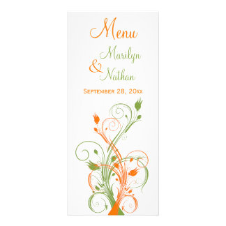Orange, Green, and White Floral Menu Card Rack Card
