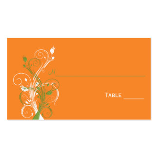 Orange, Green, and White Floral Place Cards