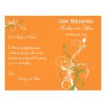 Orange, Green, and White Floral Wedding Program Flyer