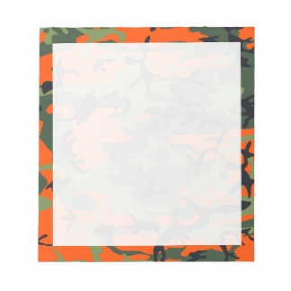 Orange, Green, Black Camo Camouflage Notepad