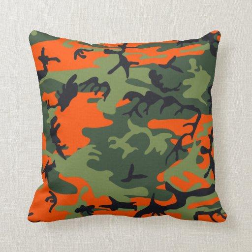 Orange, Green, Black Camo Camouflage Pillows