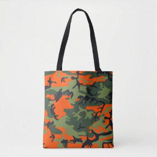 Orange, Green, Black Camo Camouflage Tote Bag