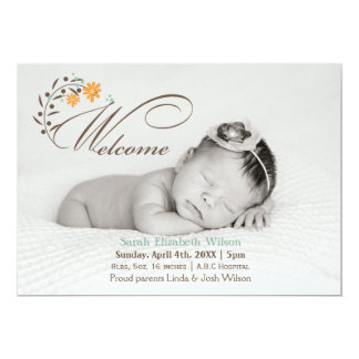 orange green blossoms photo baby announcement card