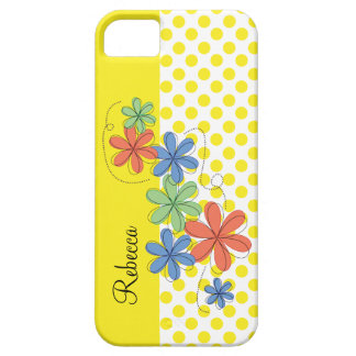Orange, green, & blue daisies, yellow dots iPhone SE/5/5s case