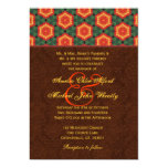 "Orange Green  Brown Monogram Wedding H666 5"" X 7"" Invitation Card"