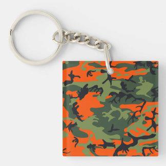 Orange Green Camouflage Keychain