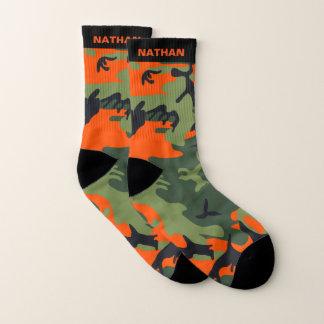 Orange Green Camouflage Personalized Name Socks