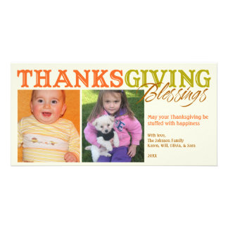 Orange green custom photos Thanksgiving blessings Picture Card