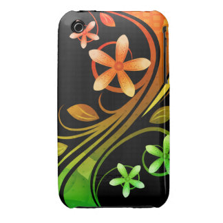 Orange & Green Floral iPhone 3 Covers