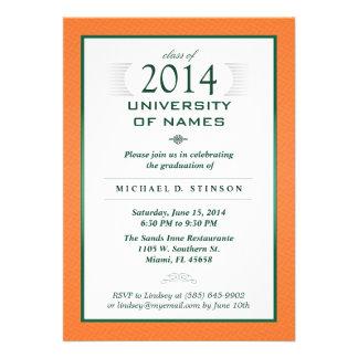 Orange & Green Formal Graduation Party Invitation