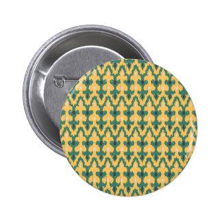 Orange Green Geometric Ikat Decorative Pattern Pinback Button