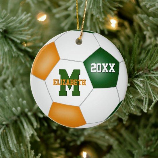 orange green girls boys team colors soccer ceramic ornament