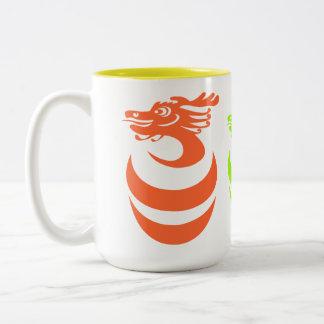 Orange Green Gold Dragons Mug