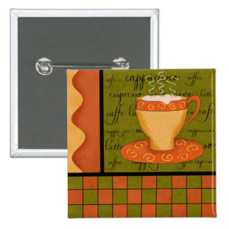 Orange Green Gold Whimsy Checkerboard Cup Art Button