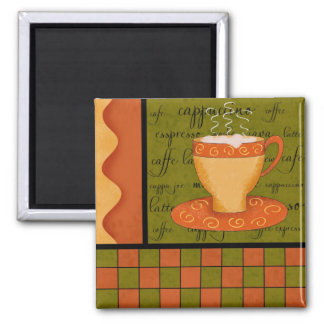 Orange Green Gold Whimsy Checkerboard Cup Art Fridge Magnets
