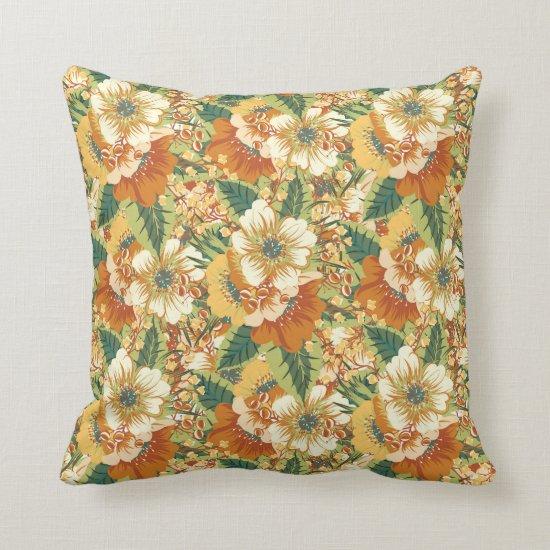 Orange Green Gold White Floral Baroque Pattern Throw Pillow