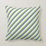 [ Thumbnail: Orange, Green, Gray, Midnight Blue, Mint Cream Throw Pillow ]