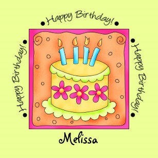 Orange Green Happy Birthday Cake Name Personalized Paper Plate