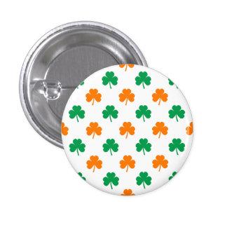 Orange Green Heart-Shaped Shamrocks On White 1 Inch Round Button