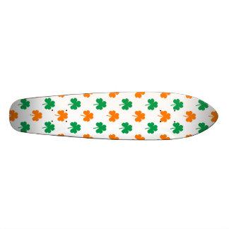 Orange Green Heart-Shaped Shamrocks On White Skateboard Deck